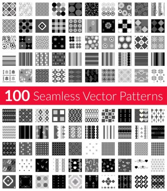 100 Universal different gray-scale vector seamless patterns tiling. Endless texture can be used for wallpaper, fills, web background, surface textures, textile. Monochrome geometric ornaments.