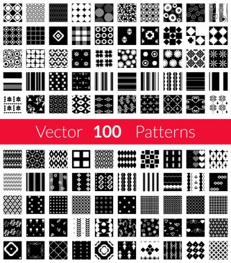 100 Universal different black and white vector seamless patterns tiling. Endless texture can be used for wallpaper, fills, web background, surface textures, textile. Monochrome geometric ornaments.