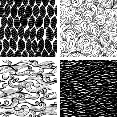 Set of four seamless black and white wave and floral patterns. Can be used for wallpaper, pattern fills, web page background, surface textures.
