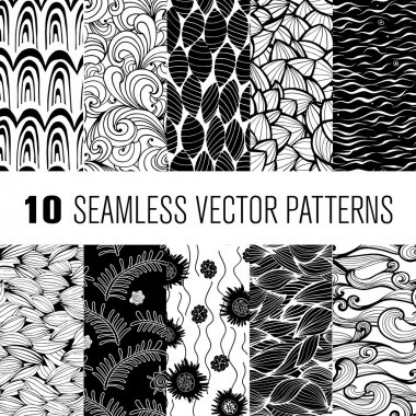 Black and white wave and floral patterns seamlessly tiling. Can be used for wallpaper, pattern fills, web page background, surface textures, textile.