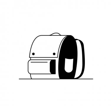 Backpack icon. Outline icon of a stylish backpack, school bag. Black and white linear illustration of a cute backpack icon