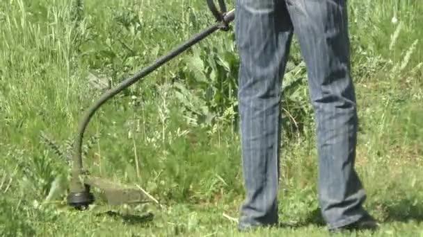 Trávníkář seká tráva plevel