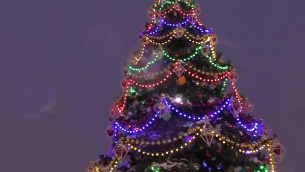 Světla na vánočním stromečku na Silvestra