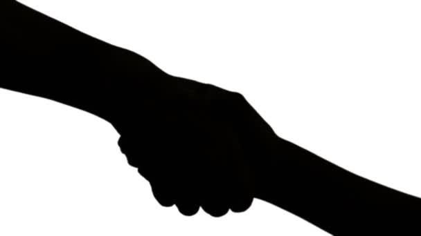 Detailní záběr ruky shake muž a žena v siluetě, černá a bílá