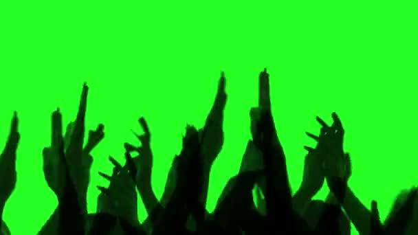 Jubelnden Menge glücklich klatschen ihre Hände, Green-screen