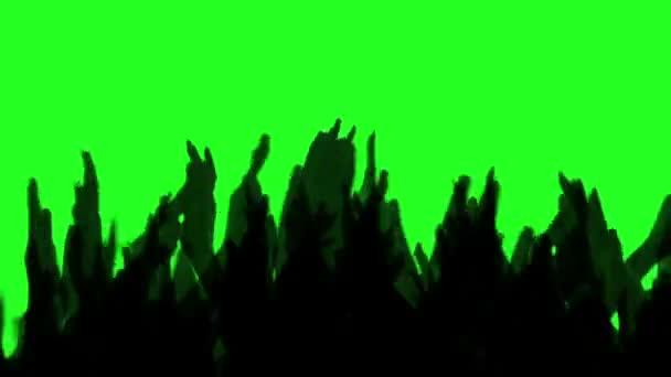 Jubelnde Menge glücklich klatschen ihre Hände, green screen