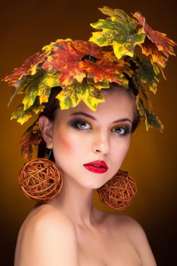 Woman portrait in autumn fashion concept