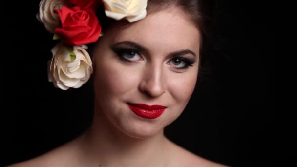 Beautiful Girl with professional make up and roses in head