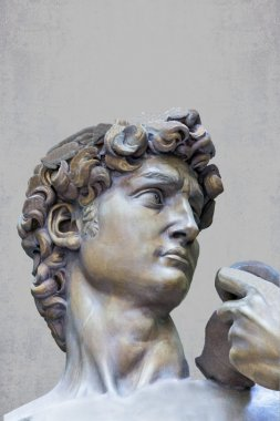 Detail close-up of Michelangelo's David statue on grunge background
