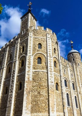 Historic The White Tower at Tower of London historic castle on the north bank of the River Thames in central London