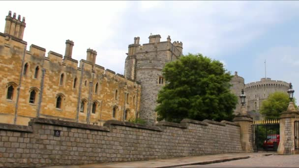 Panoramic Video of Stone Walls, Buildings and Towers Near Gate to Windsor