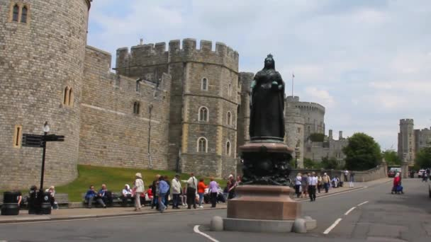 General View of Medieval Windsor Castle With a Statue of Queen Victoria