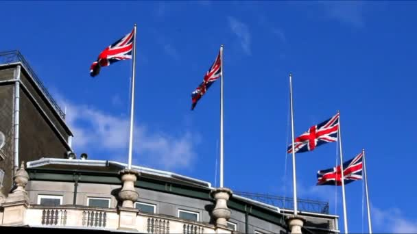 British Flags Waving in the Wind