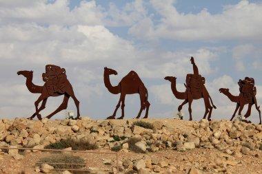 Camels caravan in the Negev desert, En Avdat National Park