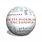 Zdravotní pojištění Exchange 3d koule slovo mrak koncepce