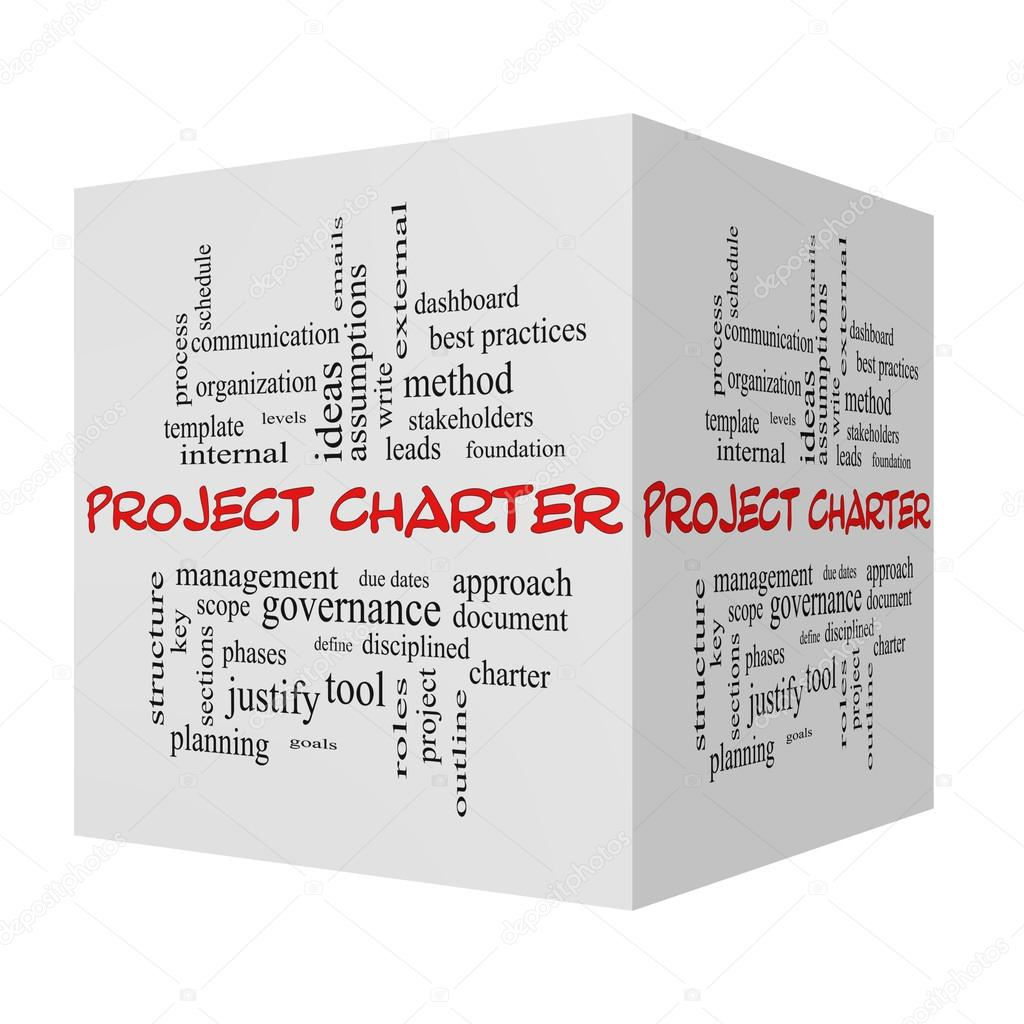 Project Charter 3D cube Word Cloud Concept in red caps — Stock Photo ...