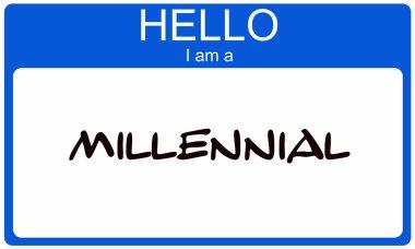 Hello I am a Millennial blue name tag concept