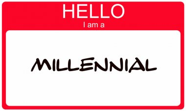 Hello I am a Millennial red name tag concept