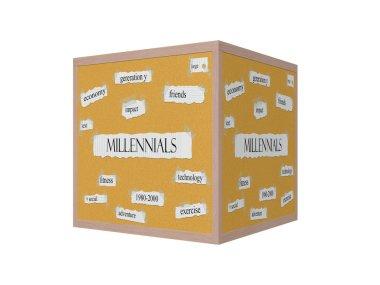 Millennials 3D Corkboard Word Concept