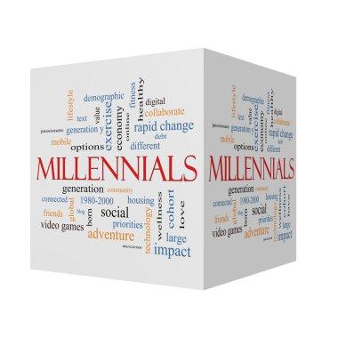 Millennials 3D cube Word Cloud Concept