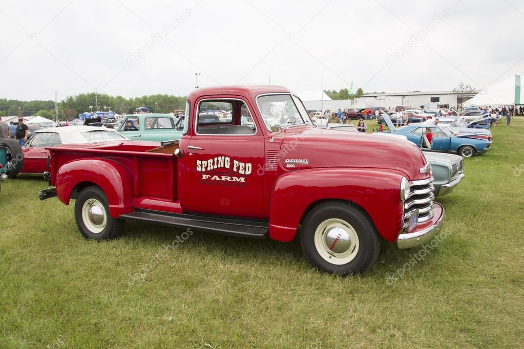 Vintage Red Chevy 3600 Pickup Truck Side View Stock Photo