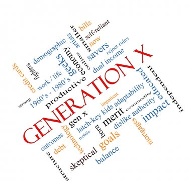 Generation X Word Cloud Concept angled