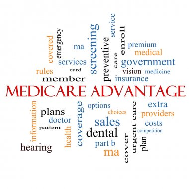 Medicare Advantage Word Cloud Concept with great terms such as premium, enroll, plan and more. stock vector