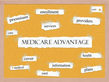 Medicare Advantage Corkboard Word Concept with great terms such as costs, care, enrollment and more. stock vector