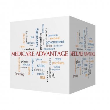 Medicare Advantage 3D cube Word Cloud Concept with great terms such as premium, enroll, plan and more. stock vector