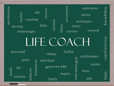 Life Coach Word Cloud Concept on a Blackboard
