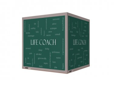 Life Coach Word Cloud Concept on a 3D Blackboard