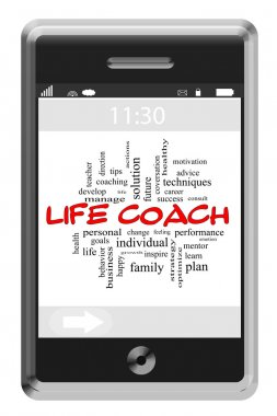 Life Coach Word Cloud Concept on a Touchscreen Phone