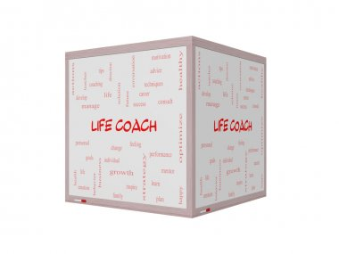 Life Coach Word Cloud Concept on a 3D Whiteboard