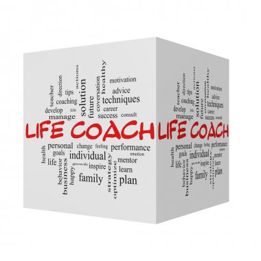 Life Coach 3D Word Cloud Concept in red caps