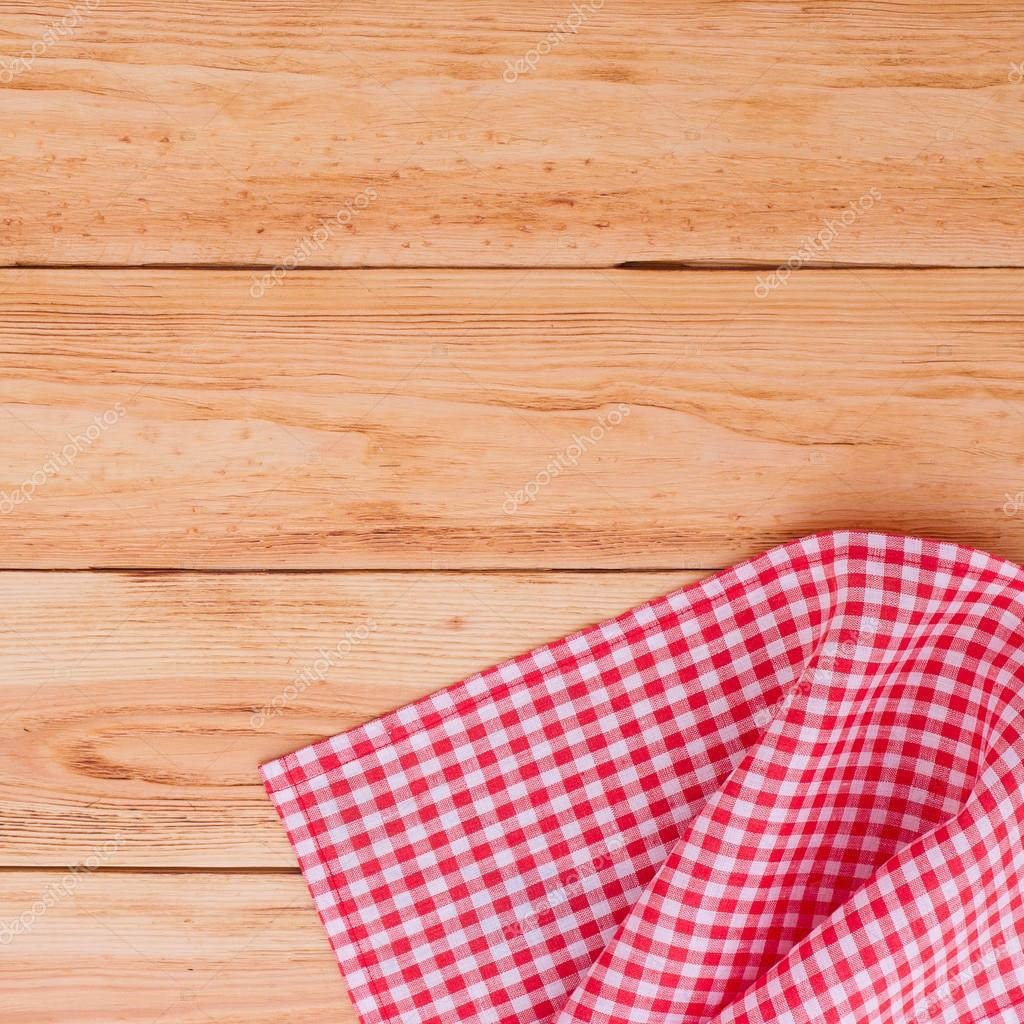 Pure Notebook For Recording Menu, Recipe On Red Checkered Tablecloth  Tartan. Wooden Table Close Up View From Top U2014 Photo By Victoreus