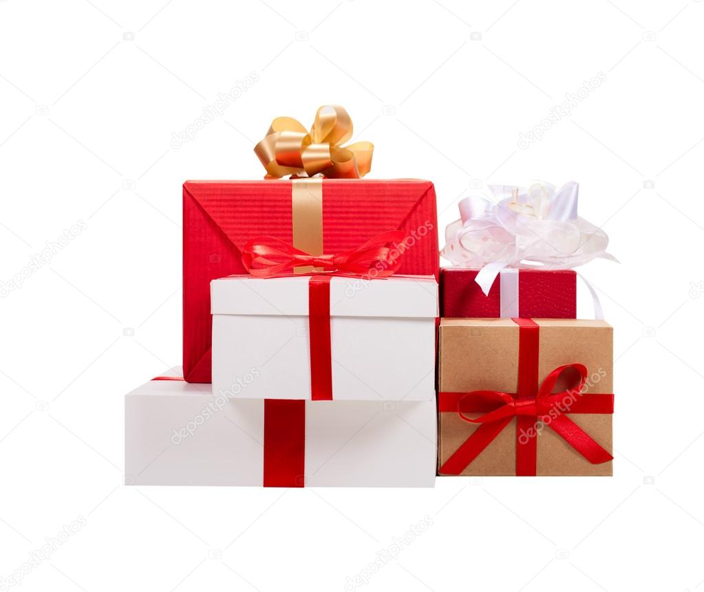 Christmas presents. Gift boxes with ribbons. — Stock Photo ...