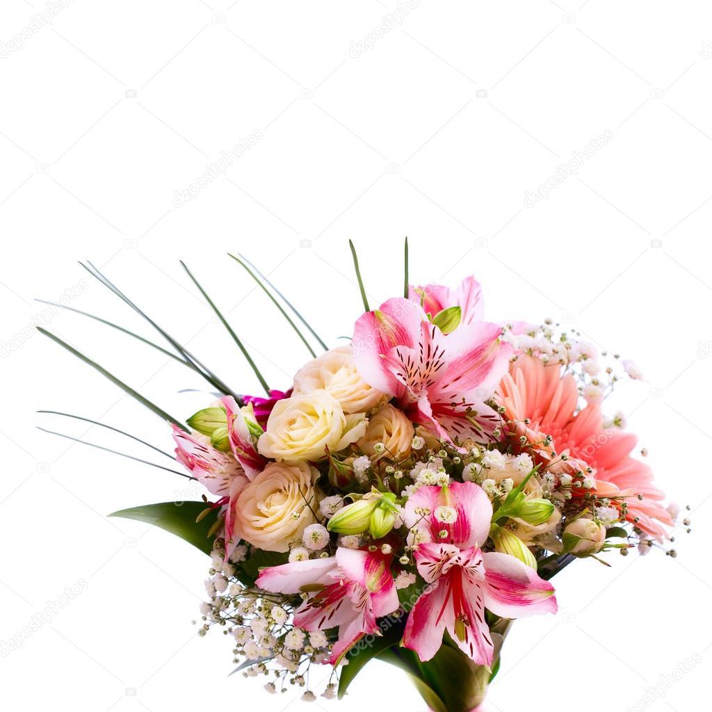 Hochzeit Brautstrauss Aus Weissen Rosen Und Rosa Lilien Stockfoto