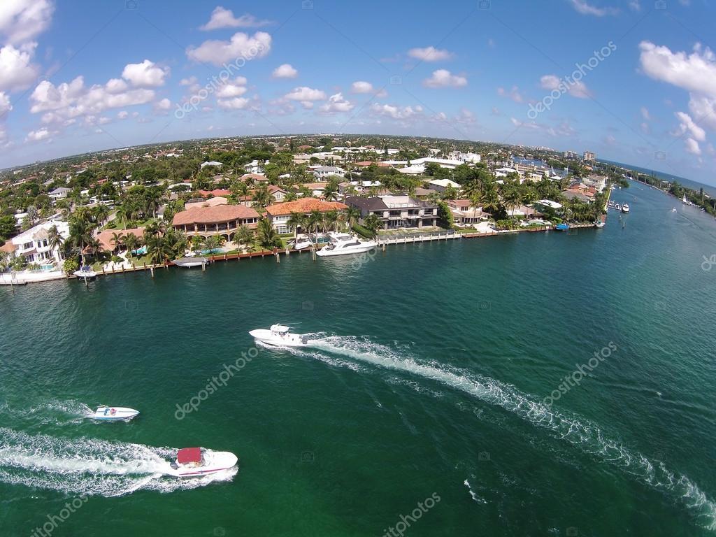 Waterways in Boca Raton, Florida aerial view