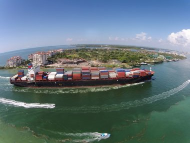 Cargo ship seen from above