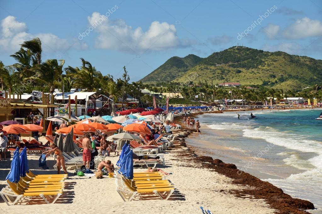 Tourists At Orient Beach St Maarten Stock Photo 63113539