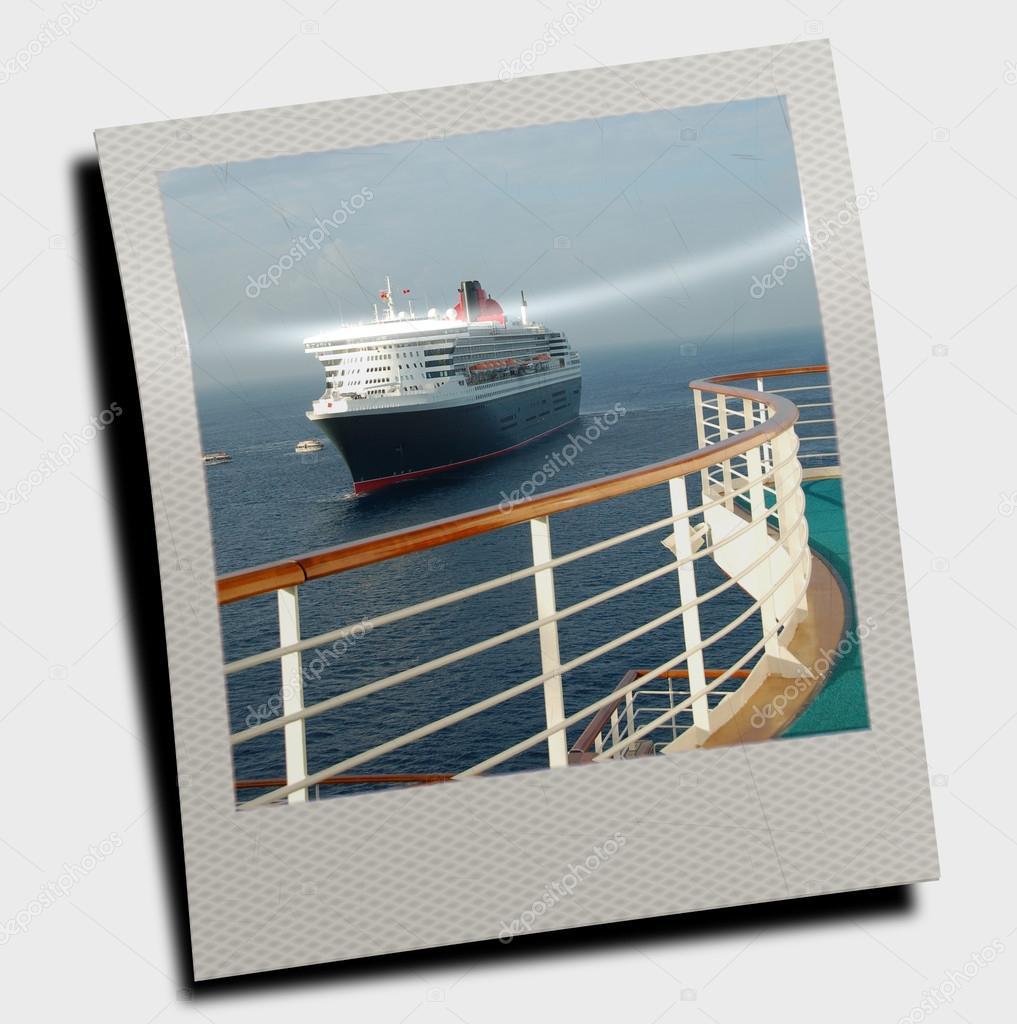 polaroid slide with cruise ship stock photo icholakov01 63668035