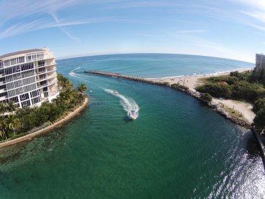 Coastal inlet in Florida aerial view