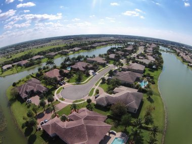 Waterfront homes in Florida aerial view