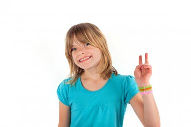Girl shows victory sign