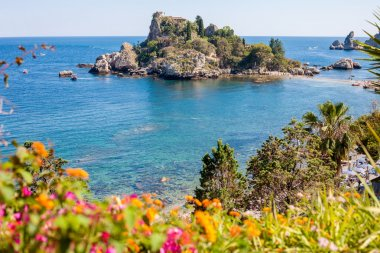 Isola Bella with flowers in Italy