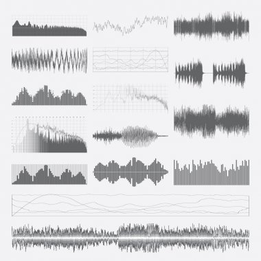 Music sound waves vector set isolated on a white background. Classical music sound waveform. Sound waves vector black and white. Audio equalizer. Sound waves wallpaper. Sound waves clipart. stock vector