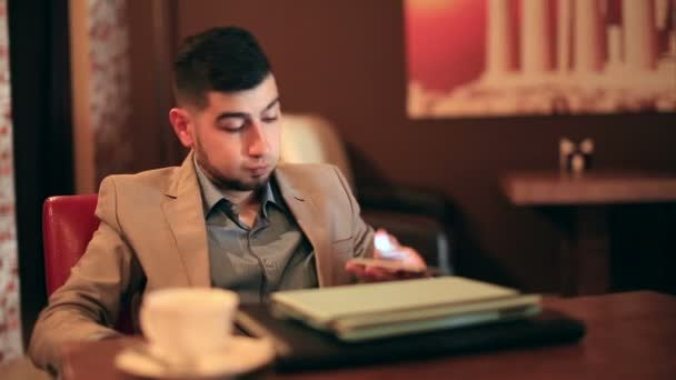 young man businessman tired from work