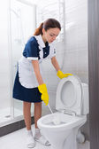 Housekeeper scrubbing out a toilet with a brush