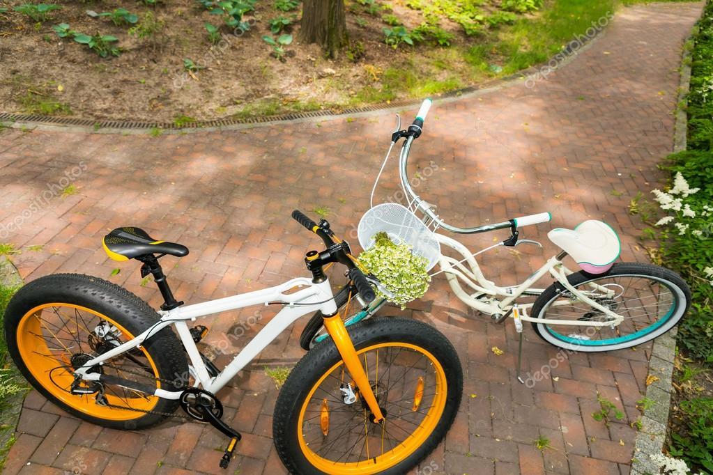 Pair of bikes on bricks