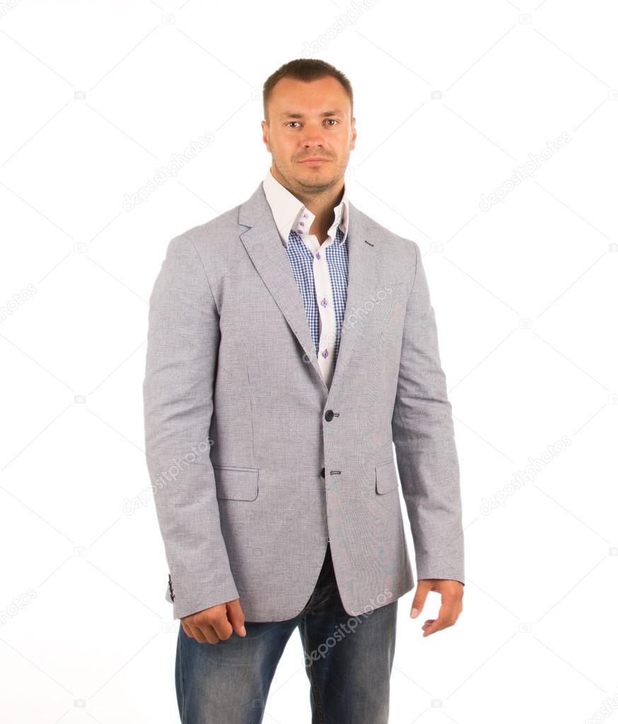 new products 9b476 2546a Buon uomo osservante in giacca grigia e pantaloni blu — Foto ...